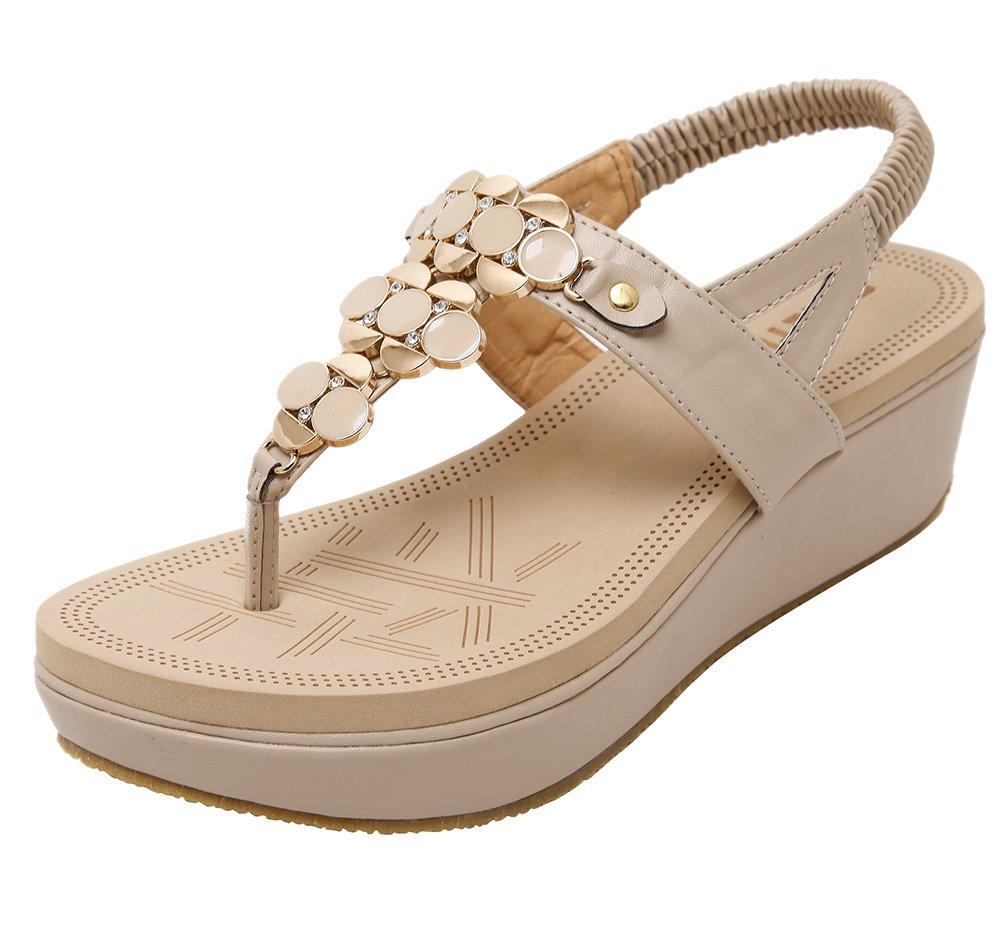 Wentsven Women's Studded Thong Sandles Wedge Platform Sandals B07BK6TLSS 7 B(M) US|Beige