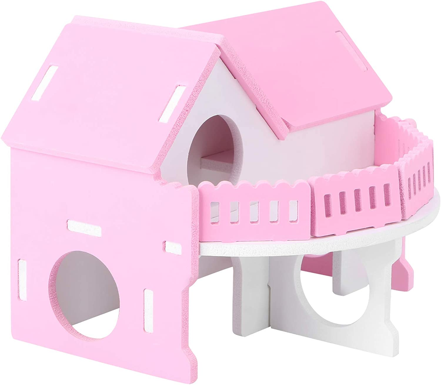 Balacoo Hamster House Villa Sleeping Nest Small Hamster Wooden Home Bird Cage for Hamster Chinchilla Small Pets (Pink)