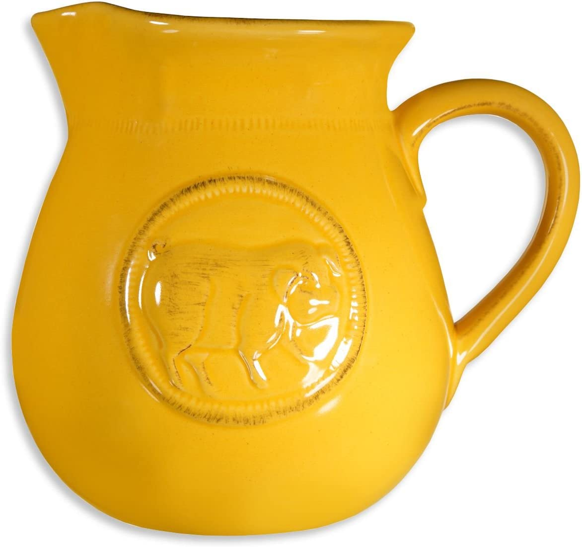 Beautiful Decorative Serving Ceramic Medallion Pig Yellow Large Water Juice Milk 3.15 Quart Pitcher Beverage Dispenser Jar Jug Cooler Vase - By Home Essentials & Beyond (Large, Yellow-Medallion Pig)