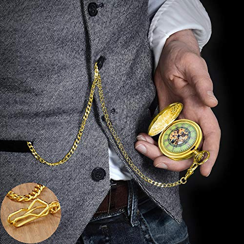 Gute Pocket Watch with Chain, Skeleton Mechanical Roman Numerals Dial Steampunk Pocket Watch for Mens Women with Gift Box
