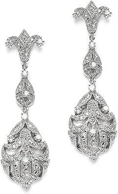 Wedding Earrings, Dangle Earrings Bridal Earrings Vintage Art Deco Rhinestone Earrings Clip On Earrings