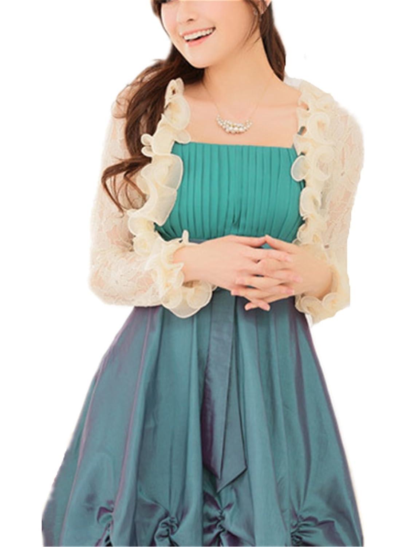 YOGLY Damen Strandjacke Boleros Bolero Cardigan Bluse Blazer Cardigan Summer für Abendkleid Spitze