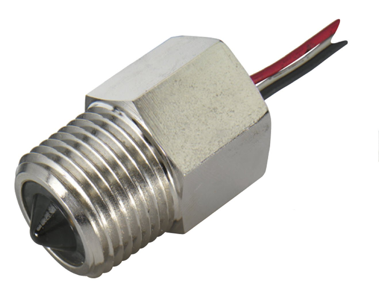 Gems Sensors 194471 Nickel Plated Steel Single Point Electro-Optic Level Switch with Wet Probe, 1/2'' NPT Male, 12 VDC, Normally Open