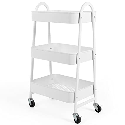3 Tier Utility Rolling Cart With Large Storage And Metal Wheels For Office ,Kitchen
