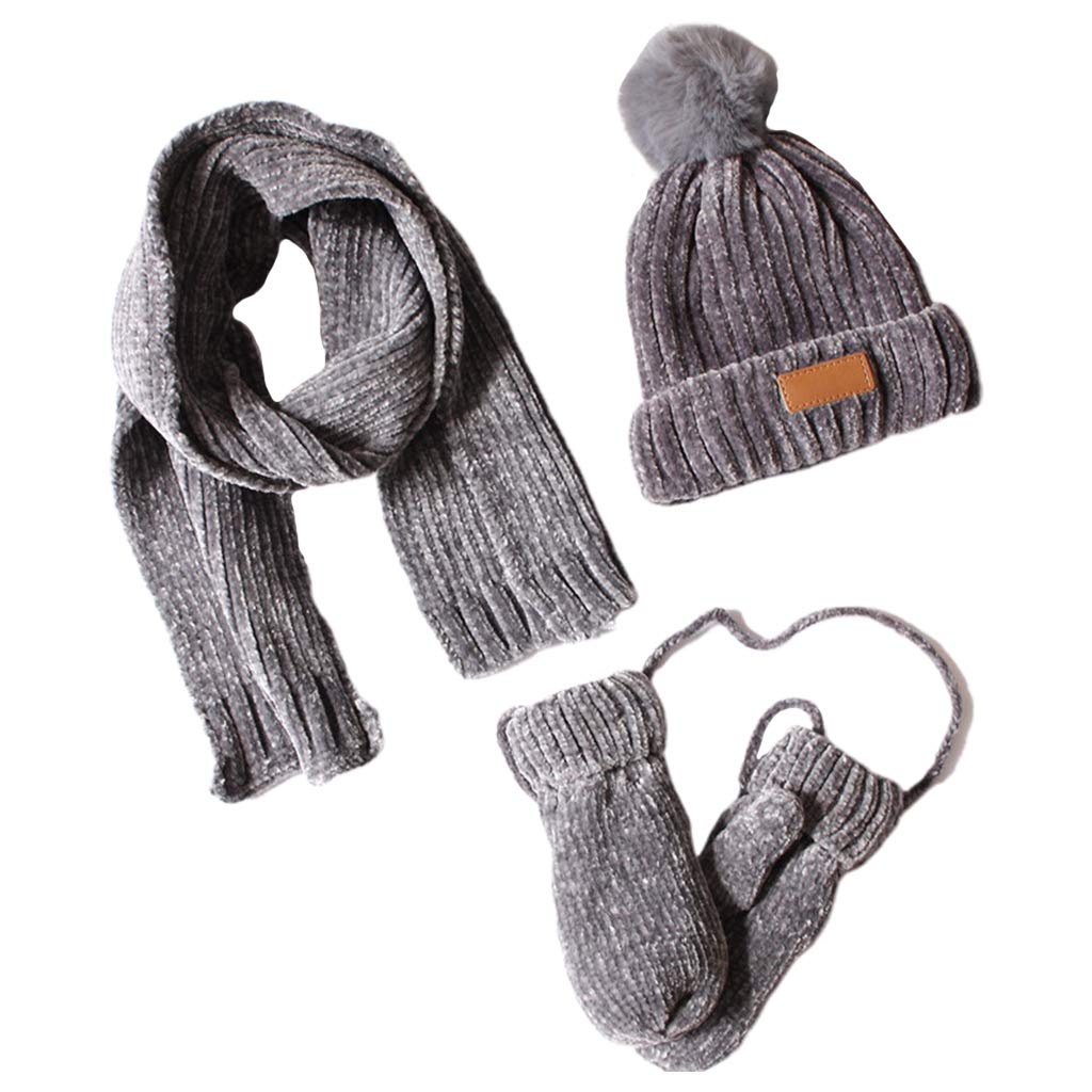 Wqingng 3 in 1 Toddler Kids Beanie Hat Scarf Set Winter Ribbed Knit Warm Pompom Beanie Hat Scarf Gloves Set