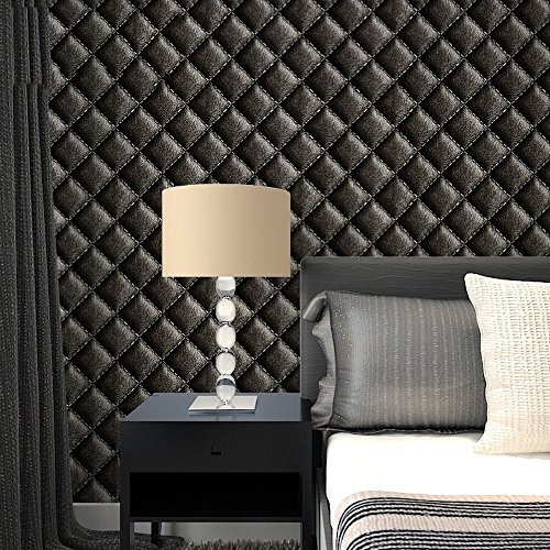 XiYunHan 3D Wallpaper Three-Dimensional Imitation Leather Lozenge Plaid Soft high-end Background Wallpaper Buy Three Get One Free (Color : B01702)