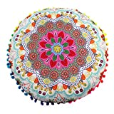 Lavany Pillow Covers Decorative, Soft Indian Mandala Floor Pillows Round Bohemian Polyester Pillows Cover Case Cushions 17x17 (D)