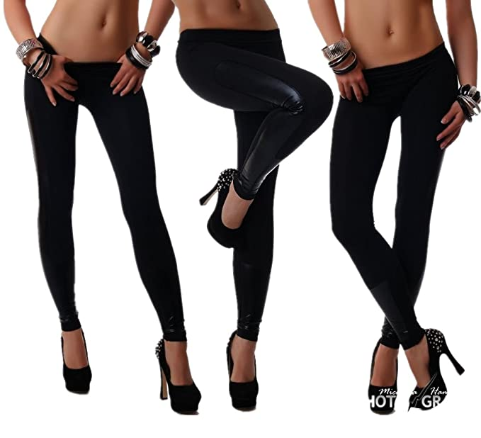 Cresay Womens Funky Stretch Capri Leggings Leather Tights Workout at ... 5396f2fba397