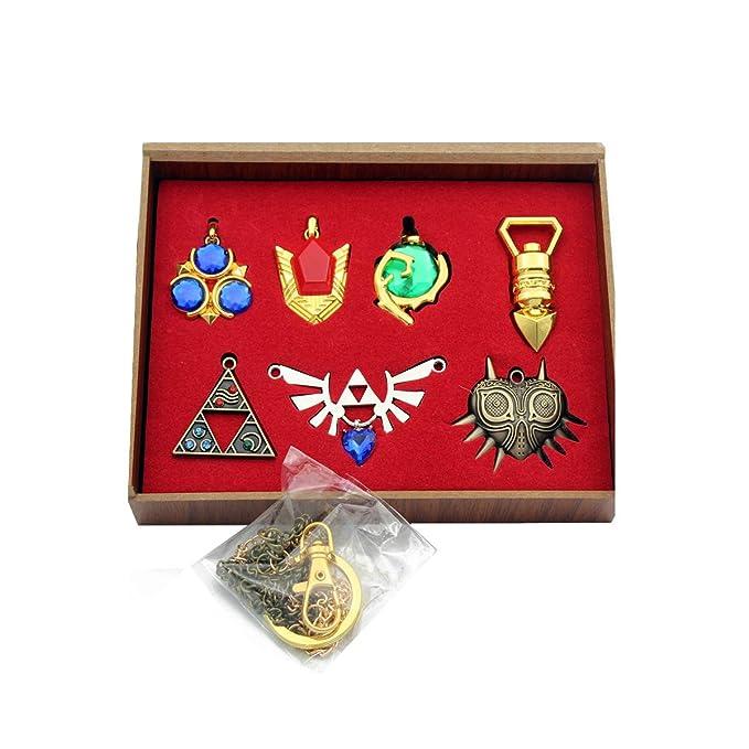 Zelda Trifuerza Escudo & Espada Llavero Collar Caja de ...