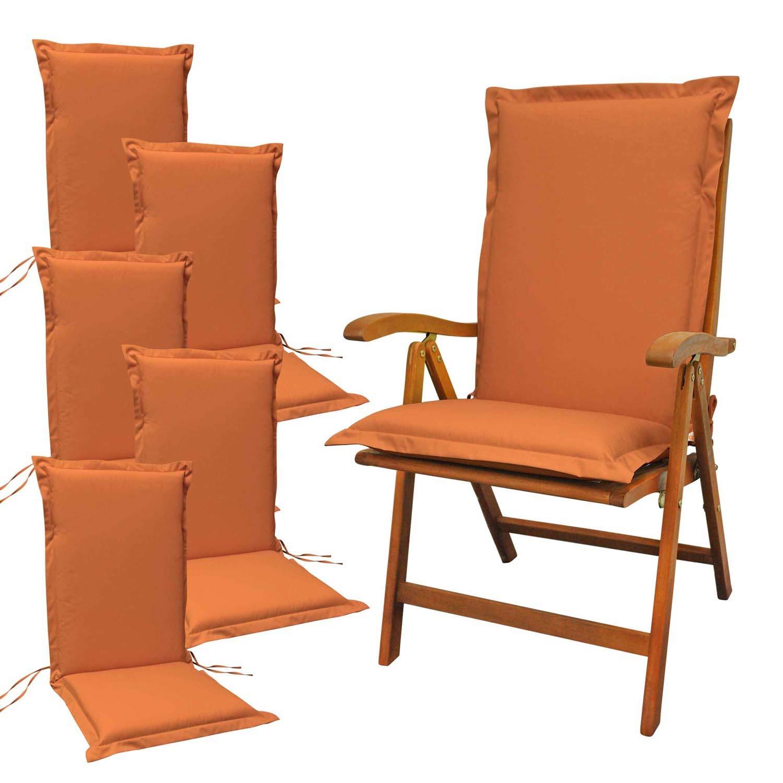 Indoba 6 x Sitzauflage Hochlehner Premium-extra dick-Terra-Serie Premium-IND-70482-AUHL-6 Polsterauflage
