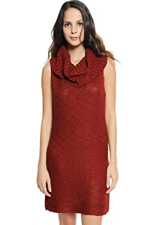 TheMogan Women's Sleeveless Cowl Neck Side Slit Tunic Sweater ...