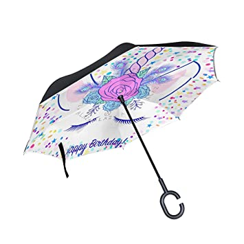 XiangHeFu - Paraguas invertido de Doble Capa, diseño de Unicornio Plegable, Resistente al Viento