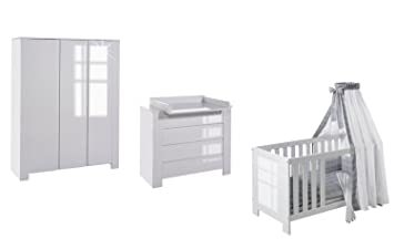 Babyzimmer weiß hochglanz  Schardt Kinderzimmer Cube Hochglanz Weiß bestehend aus Kombi ...