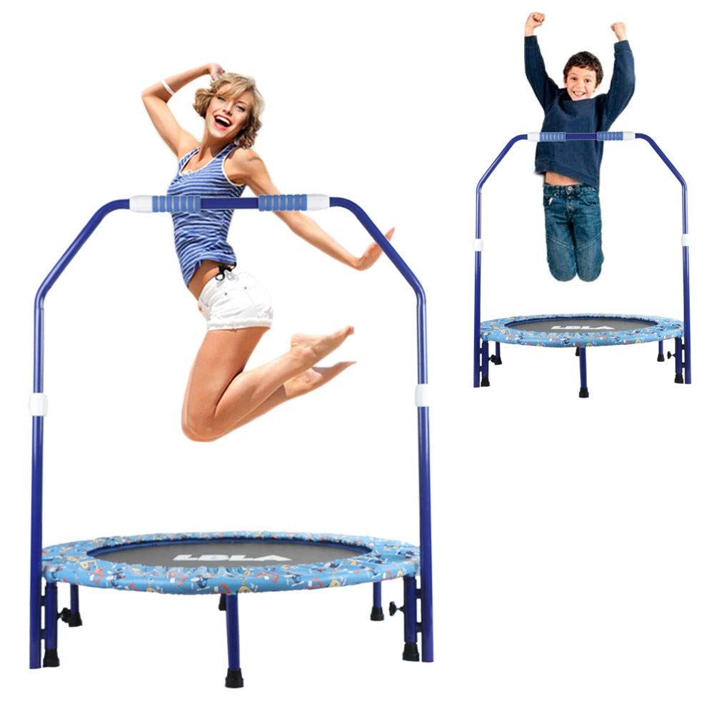 Foldable Trampoline with Adjustable Handrail 38'' inch Max Load 220lbs,Home Mini Rebounder with Padded Frame Cover Safe & Secure Fitness Exercise for Adults Kids Indoor/Garden
