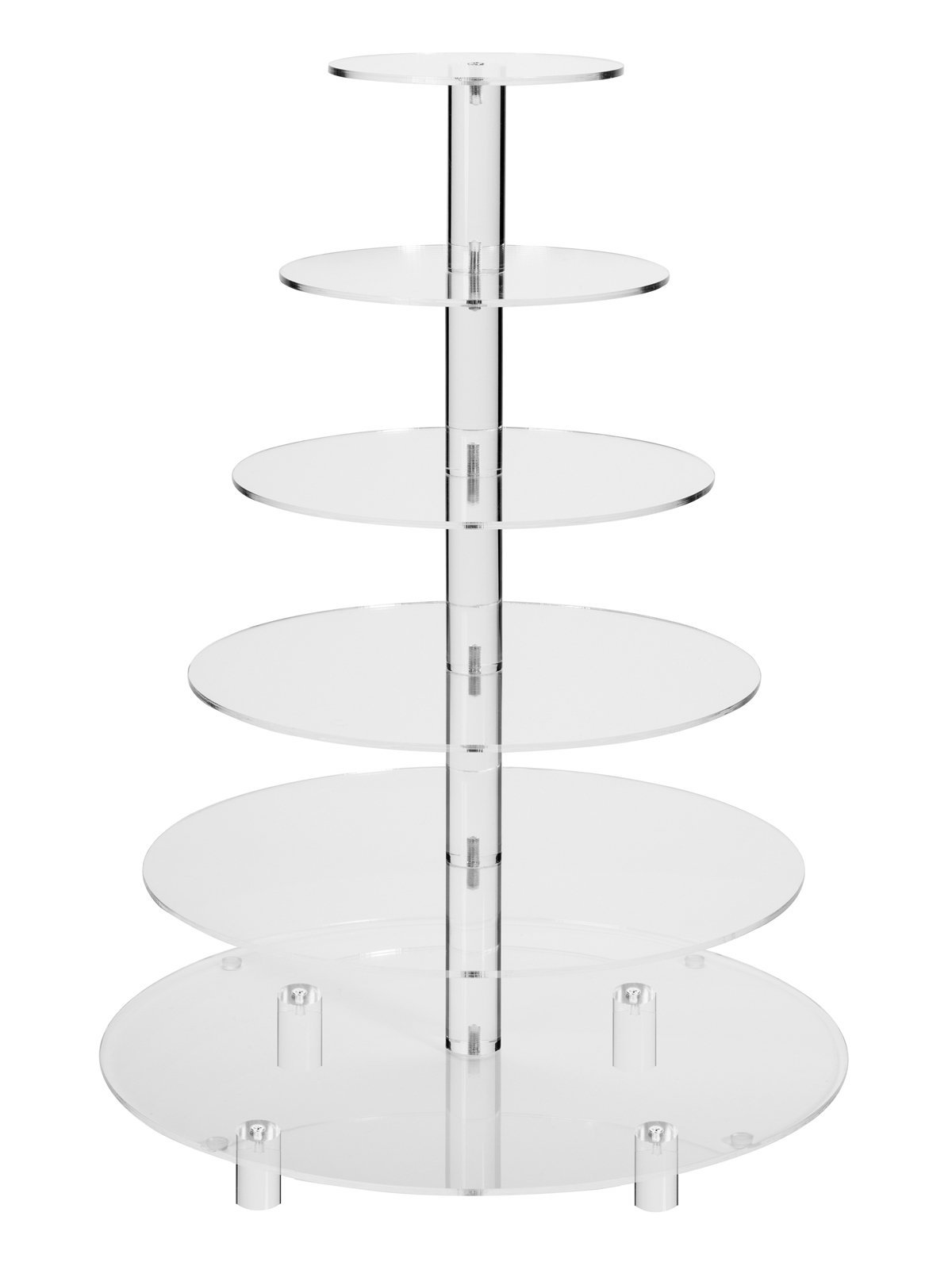 Jusalpha 6 Tier Round Acrylic Cupcake Stand-cake stand-dessert stand, cupcake Tower 6RFs (6 Tier With Base) (6RF-small) by Jusalpha (Image #1)