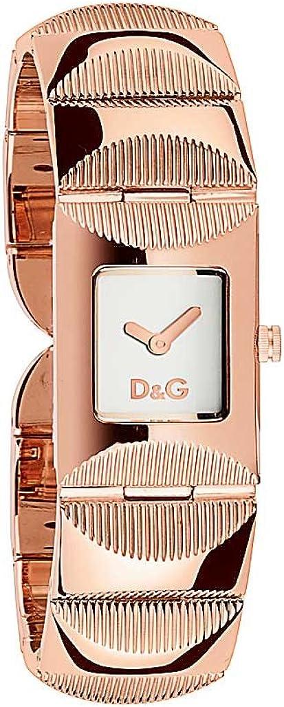 D&G Dolce&Gabbana DW0324 - Reloj analógico de mujer de cuarzo con correa de acero inoxidable rosa