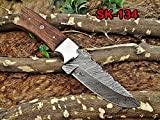 9″ Long hand forged Damascus steel skinning knife, 4.5″ full tang blade, Natural rose wood scale with Brass bolster, Cow hide Leather sheath with belt loop (Walnut wood) Review