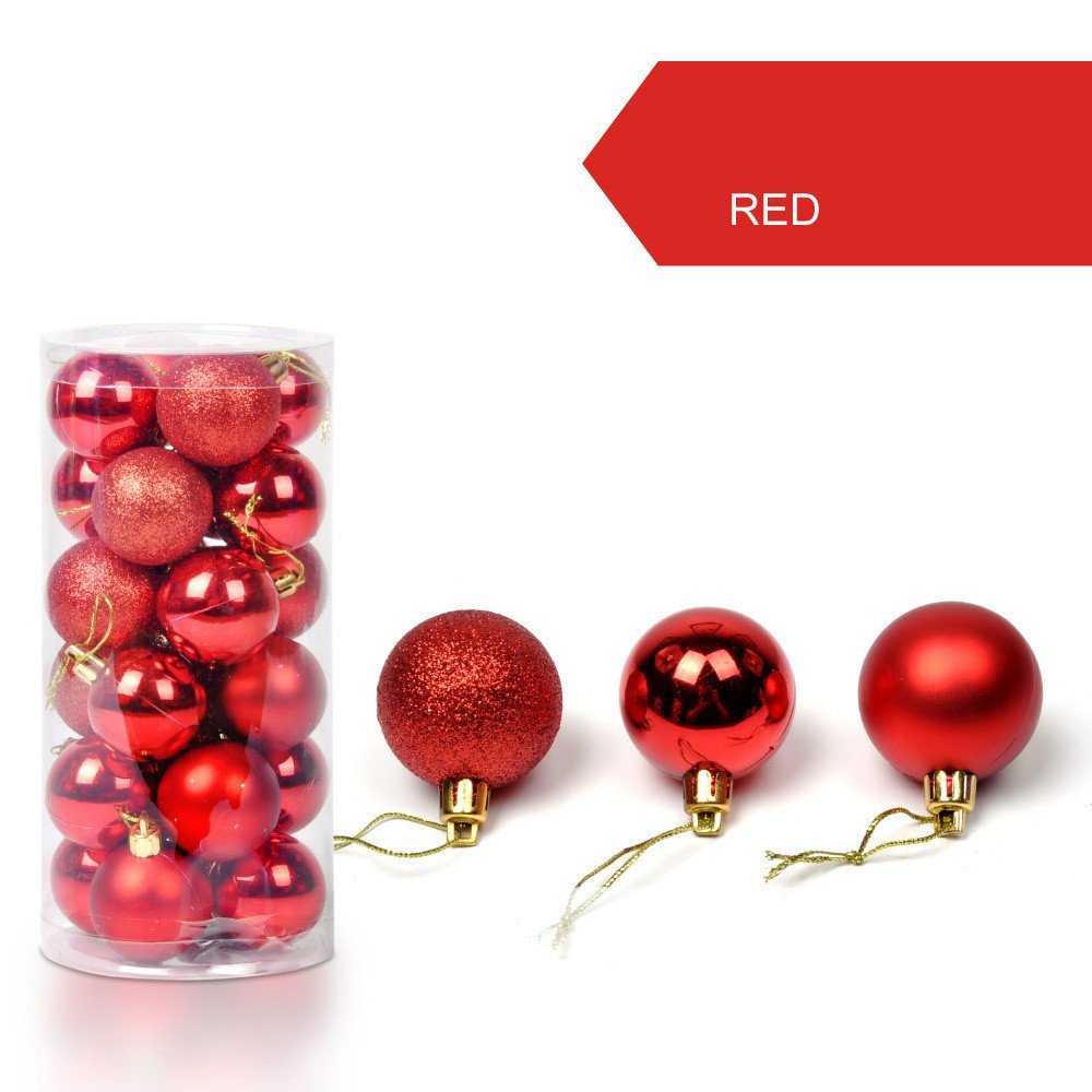Taggmy Christmas Decorations for Trees Ball 30mm Xmas Bauble Hanging Home Small Party Ornament Decor Red Green Blue