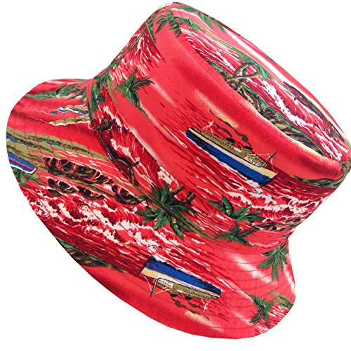 E-Flag Unisex Cotton Reversible Hawaiian Bucket Hat (BK2131RED) (Hawaiian Print Sun Hat)