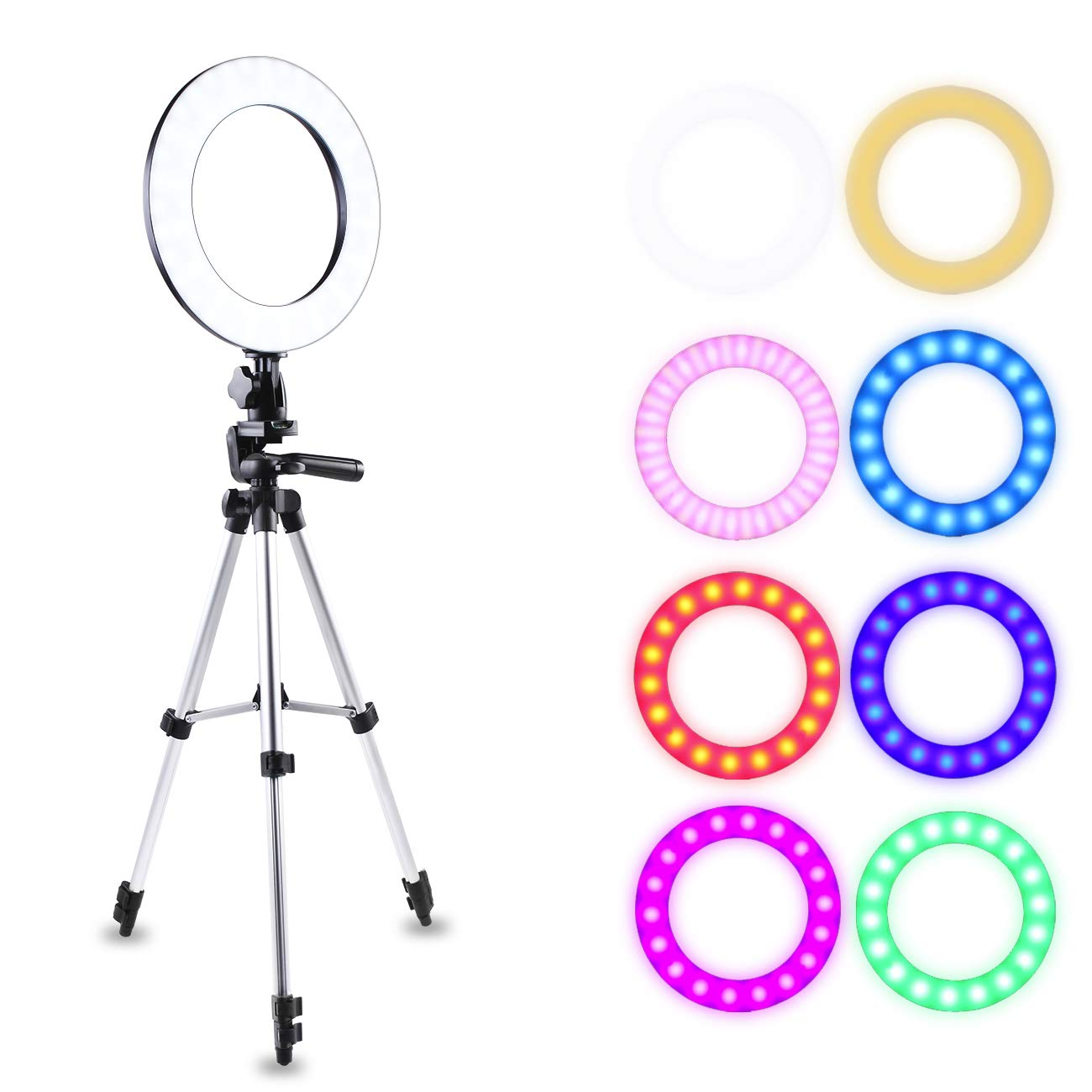 Atuten 10'' Selfie RGB Ring Light with Stretchable Tripod Stand & Cell Phone Holder for Live Stream, Makeup, YouTube Video, Photography (Black)