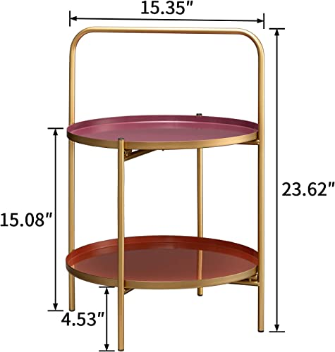 HollyHOME 2-Tier Round Metal End Table