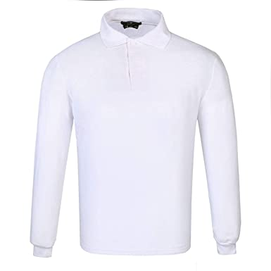 DONNAY Hombre Camiseta Polo Manga Larga De Algodón Blanco XS ...
