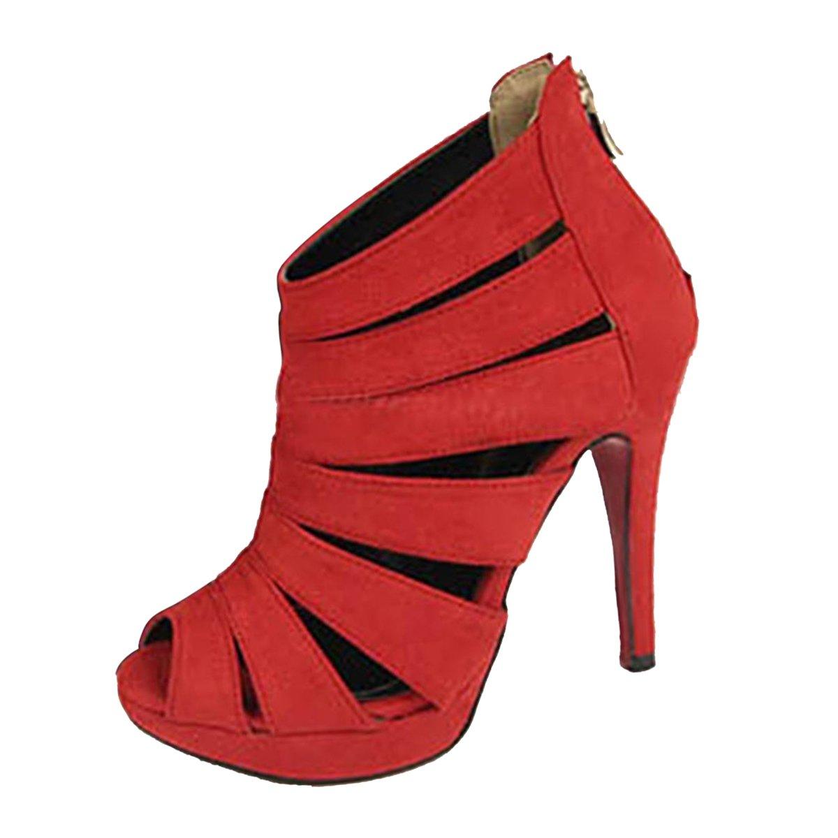 TALLA 37 EU. SODIAL(R) Sandalias de Tacon Alto de Mujer Zapatos Zapatillas de Plataforma de Dedo del pie Abierto Tobillo Negro Tamano 35