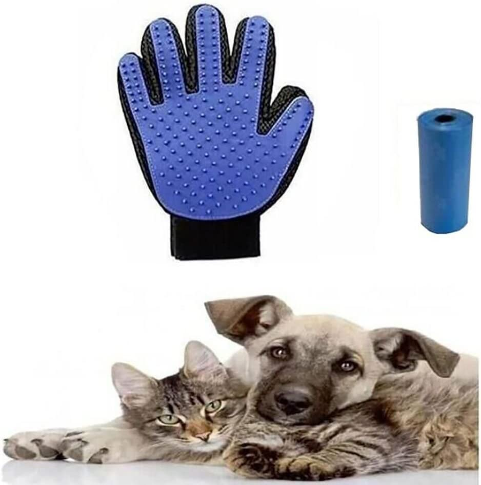 Polo Honey Guante para perros Guante de cepillado para depilación suave y eficaz Guantes de masaje 1 guante (se envía un rollo de bolsas para recoger excrementos).: Amazon.es: Productos para mascotas