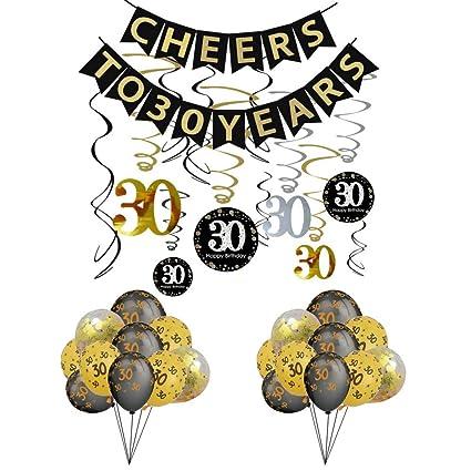 Amazon.com: Kit de decoración de fiesta de 30 cumpleaños ...