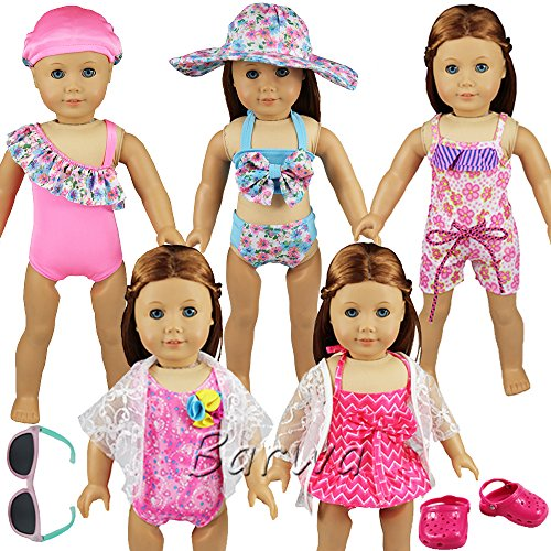 Barwa Doll Swimsuit 5 Sets Swimming Clothes with 1 Pair Sunglasses and 1 Pair Beach Shoes for 18 Inch American Girl - American Glasses Store