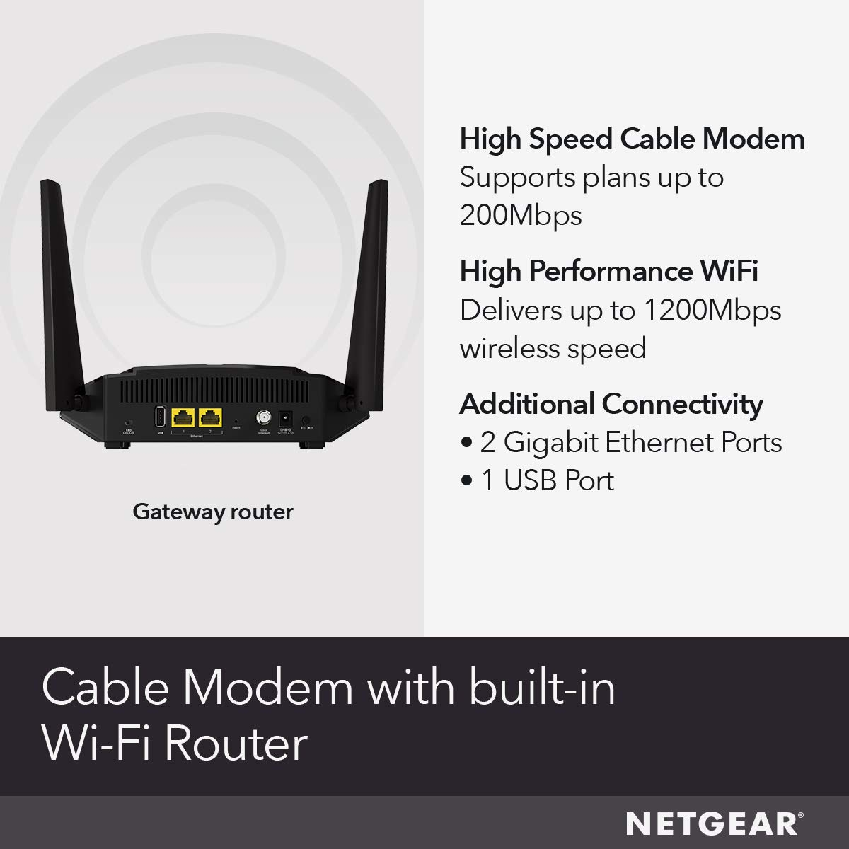 Cox DOCSIS 3.1 - Compatible with Cable Providers Including Xfinity by Comcast AC3200 WiFi Speed C7800 NETGEAR Nighthawk Cable Modem WiFi Router Combo Spectrum Cable Plans Up to 2 Gigabits