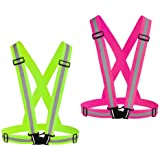 Chiwo Reflective Vest Running Gear 2Pack, High Visibility Adjustable Safety Ves for Night Cycling,Hiking, Jogging,Dog Walking