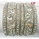 Tyagi Craft Indian Bollywood Bridal Fancy Crystal Asian Jewellery Silver Bangles Kada Bracelets