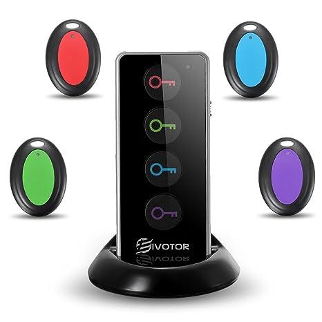 Buscador de Llaves,EIVOTOR Localizador Wireless Inalámbricas con Base de Soporte Anti-pérdida LED Linterna y Alarma de 80dB - 4 Receptores y 1 ...