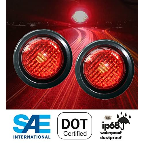 """Hot 2 Red LED 2"""" Round Clearance Side Marker Light Kits with Light and Grommet Truck Trailer RV free shipping"""