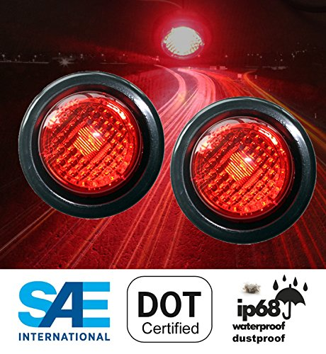 2 Red LED 2 Round Clearance Side Marker Light Kits with Light and Grommet Truck Trailer RV