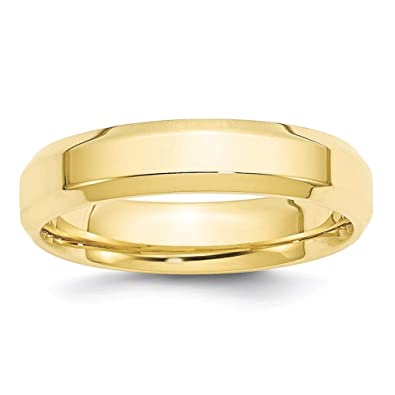 Lex /& Lu 10k White Gold 5mm Bevel Edge Comfort Fit Band Ring
