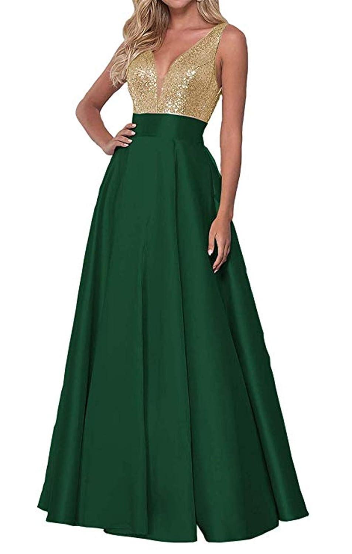 Green Falydal Women's gold Sequins Formal Evening Gowns 2019 V Neck Satin Prom Dress