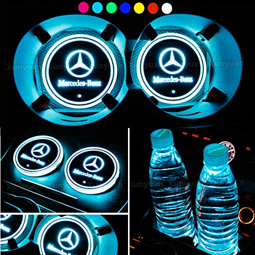 Xunyuan 2 pcs LED Car Logo Cup Holder Lights Coaster USB Charging 7 Colors Changing Auto Luminescent Cup Pad LED Interior Atmosphere Lamp Decoration Lights Accessories (Mercedes Benz)