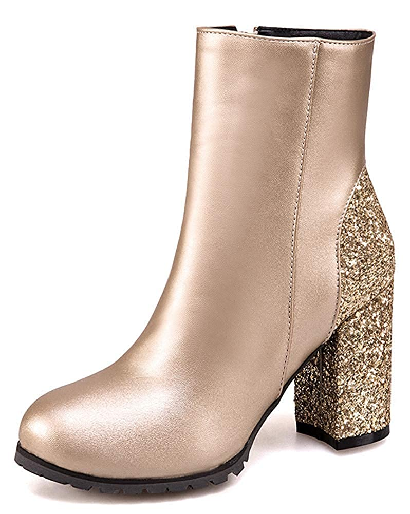 Unm Womens Glitter Sequins Round Toe Wedding Short Boots Chunky High Heel Ankle Booties with Zipper