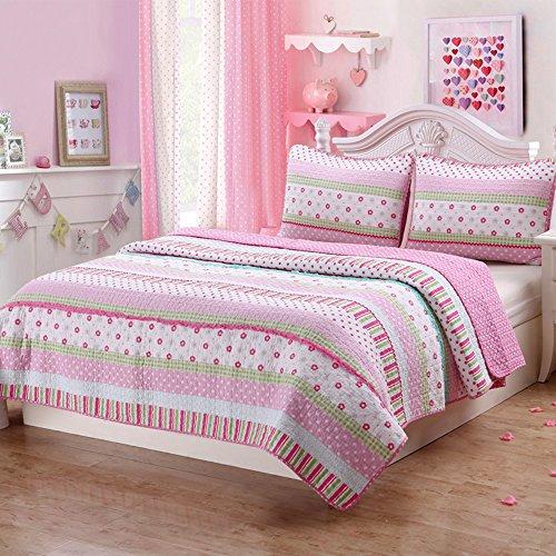 Soft Cotton Bright Greta Pastel Design Girls Bedding Quil...