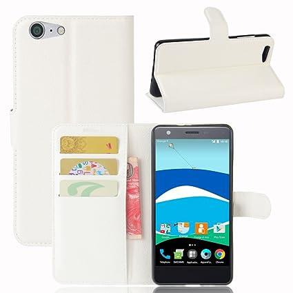 Guran® Funda de Cuero PU Para ZTE Blade V770 Smartphone Función de Soporte con Ranura para Tarjetas Flip Case Cover Caso-blanco