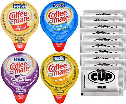 Liquid Creamer Cups - Coffee-Mate Liquid .375oz Variety Pack (4 Flavor) 100 Count includes Original, French Vanilla, Hazelnut, Italian Sweet Crème & By The Cup Sugar Packets