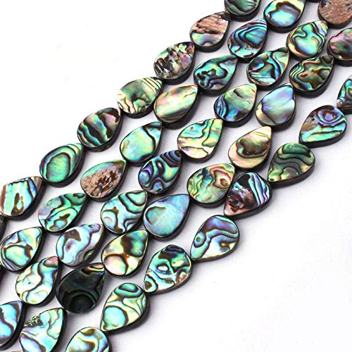10x14mm Flat Teardrop Natural Abalone Shell Beads Semi Precious Gemstone Beads for Jewelry Making Strand 15 inch (28pcs)