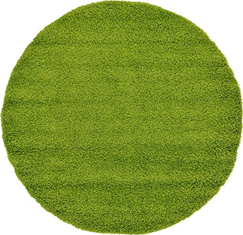 Unique Loom Solo Solid Shag Collection Modern Plush Grass Green Round Rug (6' 0 x 6' 0) -