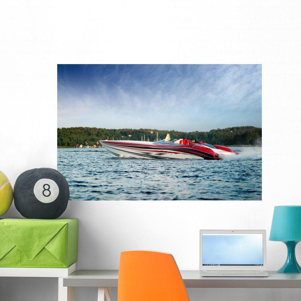 Wallmonkeys Luxury Speedboat Wall Decal Peel and Stick Graphic WM310373 (36 in W x 24 in H)