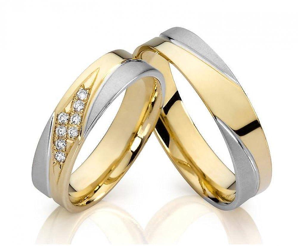 2 Ringe Titan Partnerringe Verlobungsringe Trauringe mit Zirkonia /& Gravur