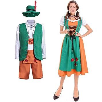 BGFDSV Adulto Hombre Mujer Dirndl Parejas Disfraz Verde Vestido ...