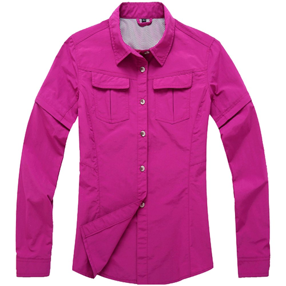 Jessie Kidden Women's Quick Dry Sun UV Protection Convertible Long Sleeve Shirts for Hiking Camping Fishing#0805-Rose Red,US M