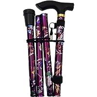 JZK Opvouwbare compacte wandelstok paars bloemen uittrekbare opvouwbare wandelstok in hoogte verstelbaar met armband en…